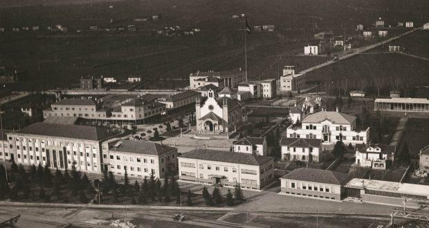 Dalmine. Quartiere urbano. Veduta aerea dall'interno dello stabilimento. Anni Quaranta - ph Autore Ignoto