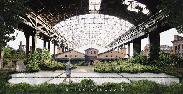 Collage Città Ideale, una città ideale caratterizzata da aree industriali dismesse recuperate